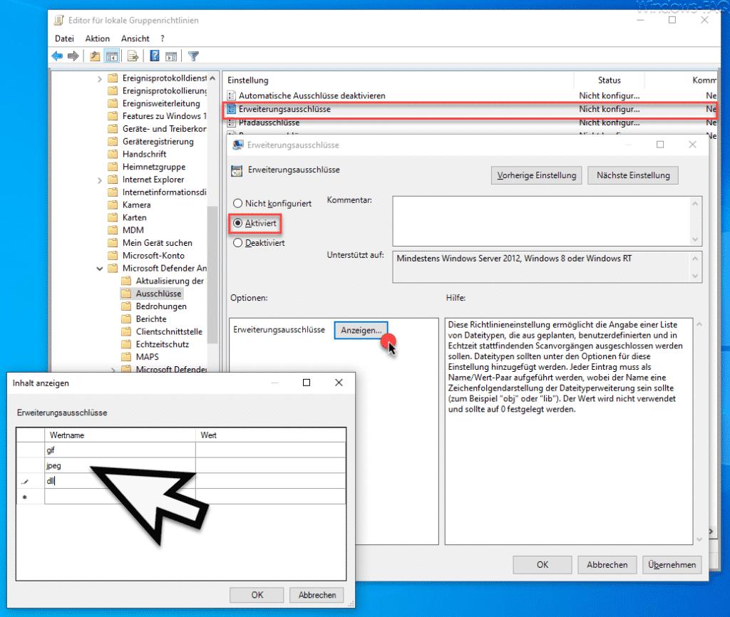 Dateiendungen im Defender ausschließen