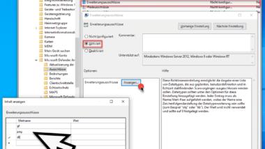 Dateiendungen ausschließen beim Defender per GPO