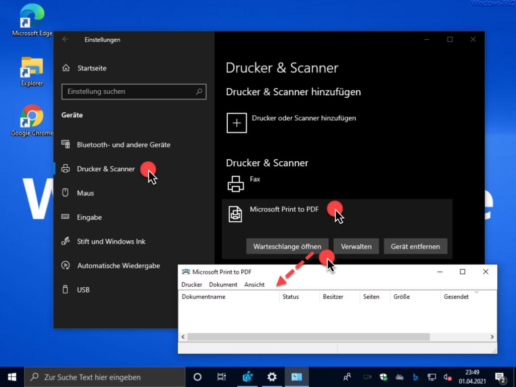 Drucker Warteschlange öffnen Windows 10