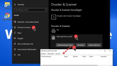 Druckerwarteschlange öffnen bei Windows 10