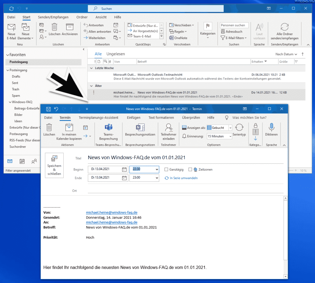 E-Mail umgewandelt in Termin im Outlook
