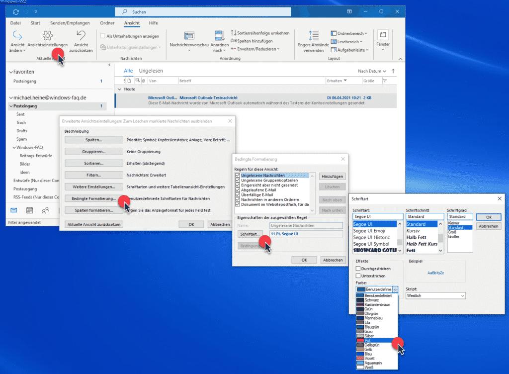 Outlook Ansichtseinstellungen Schriftfarbe ungelesene E-Mails