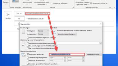 Outlook – Als Antwort-Adresse auf eine E-Mail automatisch einen anderen Empfänger angeben