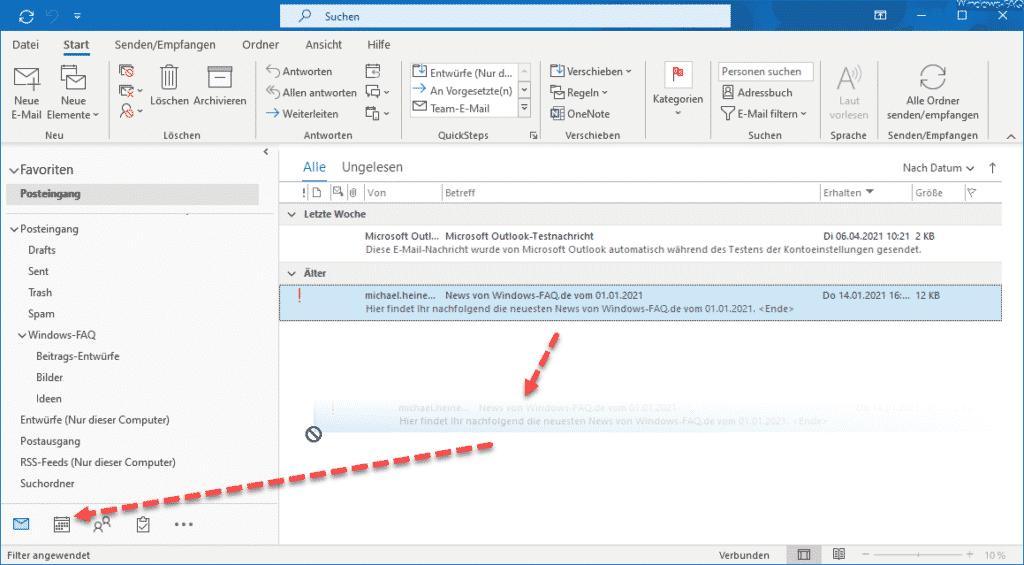 Outlook E-Mail in Kalendereintrag umwandeln