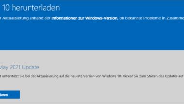 Download und Installation Windows 10 Version 21H1