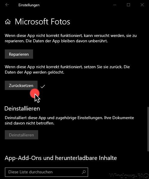 Microsoft Fotos zurücksetzen
