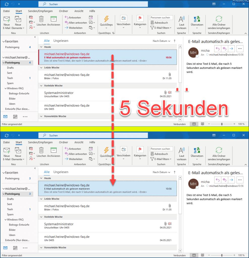 Nach 5 Sekunden wird E-Mail automatisch als gelesen markiert