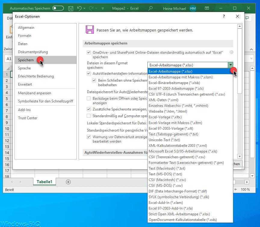 Standard Dateitypen Microsoft Excel