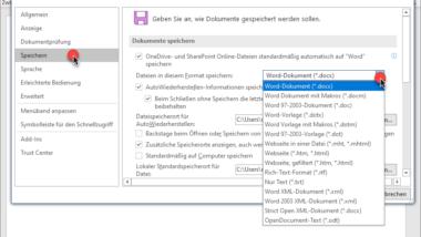 Standard Dateityp zum Speichern von Word & Excel Dateien festlegen