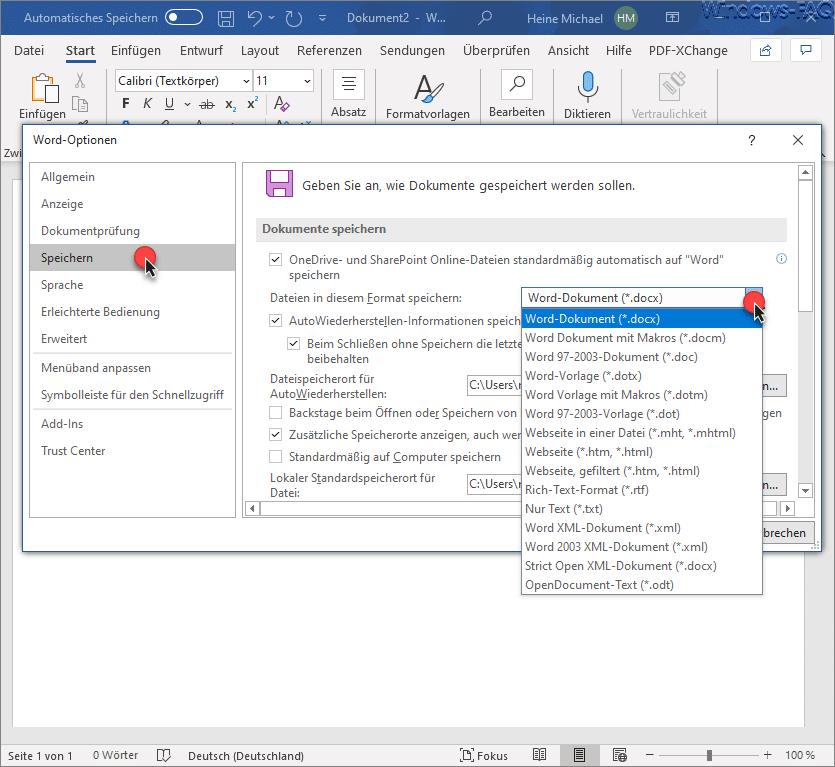 Standard Dateitypen Microsoft Word