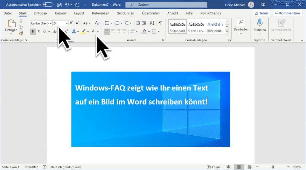 Text auf ein Bild schreiben im Word
