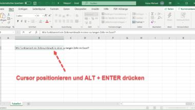 Zeilenumbruch in einer Excel Zelle