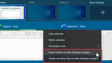 Geöffnetes Programm oder App auf allen virtuellen Desktops anzeigen