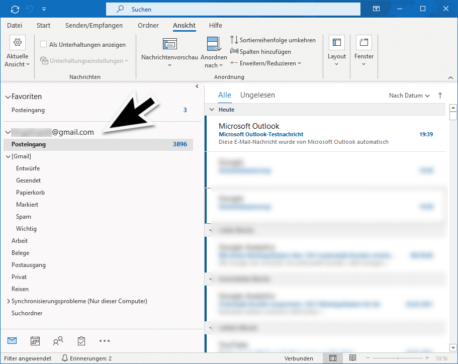 GMail Konto im Outlook
