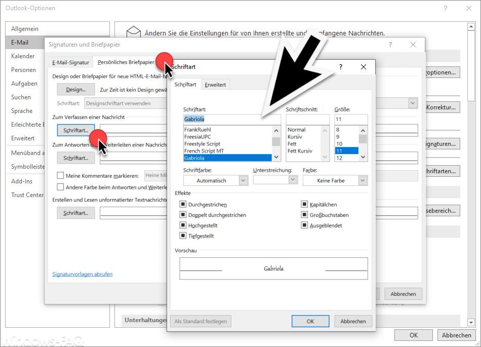 Outlook Schriftart auswählen