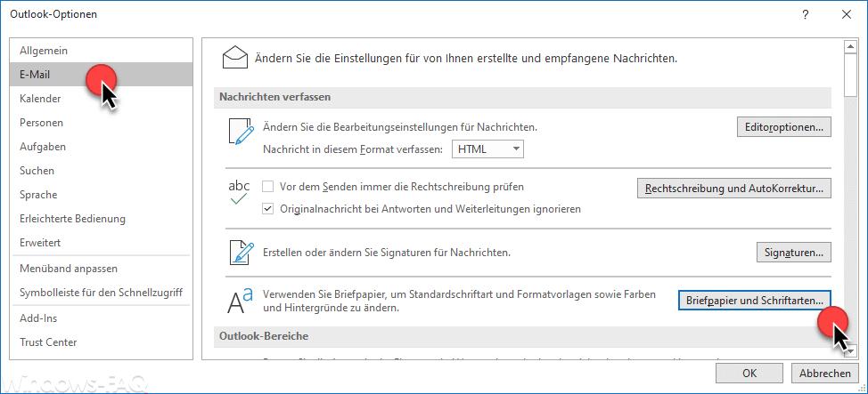 Outlook Schriftarten