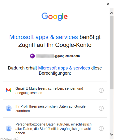 Outlook Zugriff auf das Google Konto