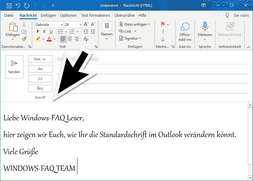 Standardschriftart im Outlook ändern