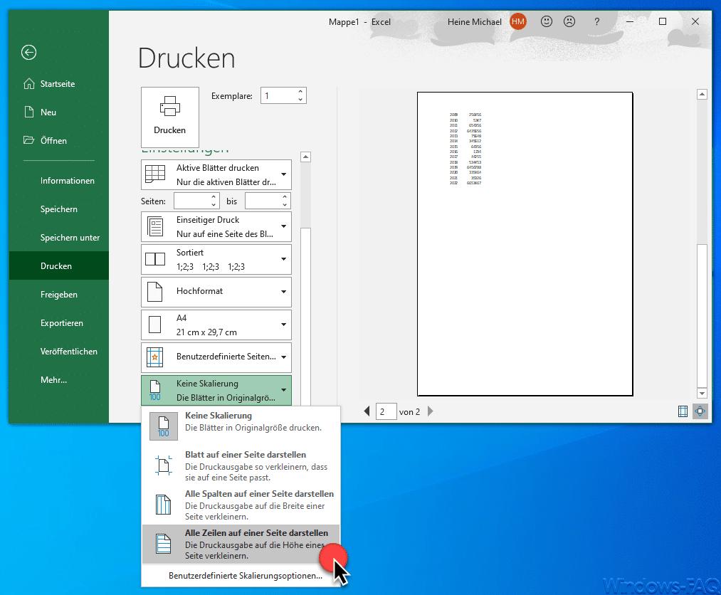 Excel Alle Zeilen auf einer Seite darstellen