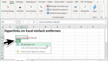 Links bzw. Hyperlinks im Excel entfernen