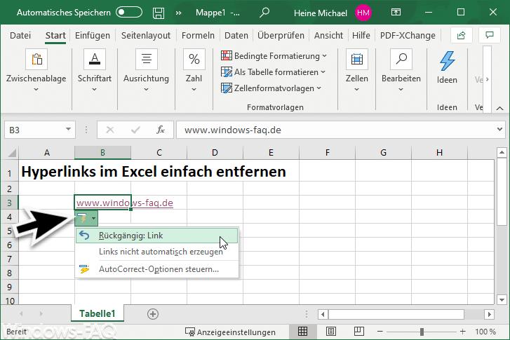 Excel Hyperlink entfernen