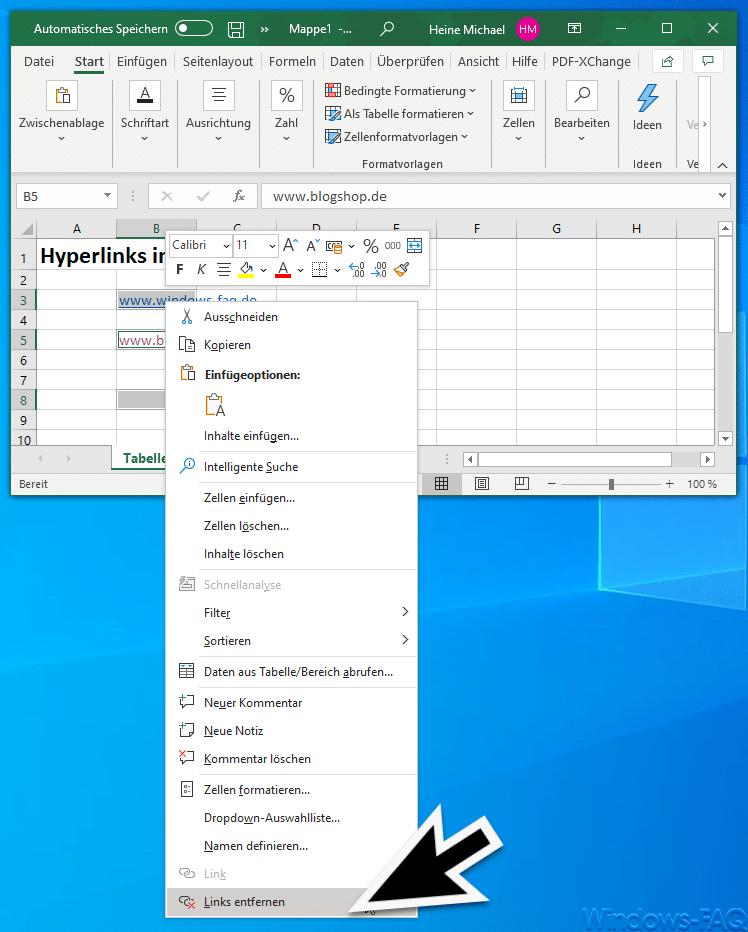 Excel Links entfernen