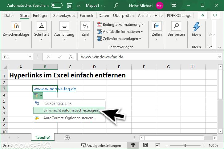 Excel Links nicht automatisch erzeugen