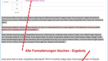 In einer Outlook E-Mail alle Formatierungen entfernen