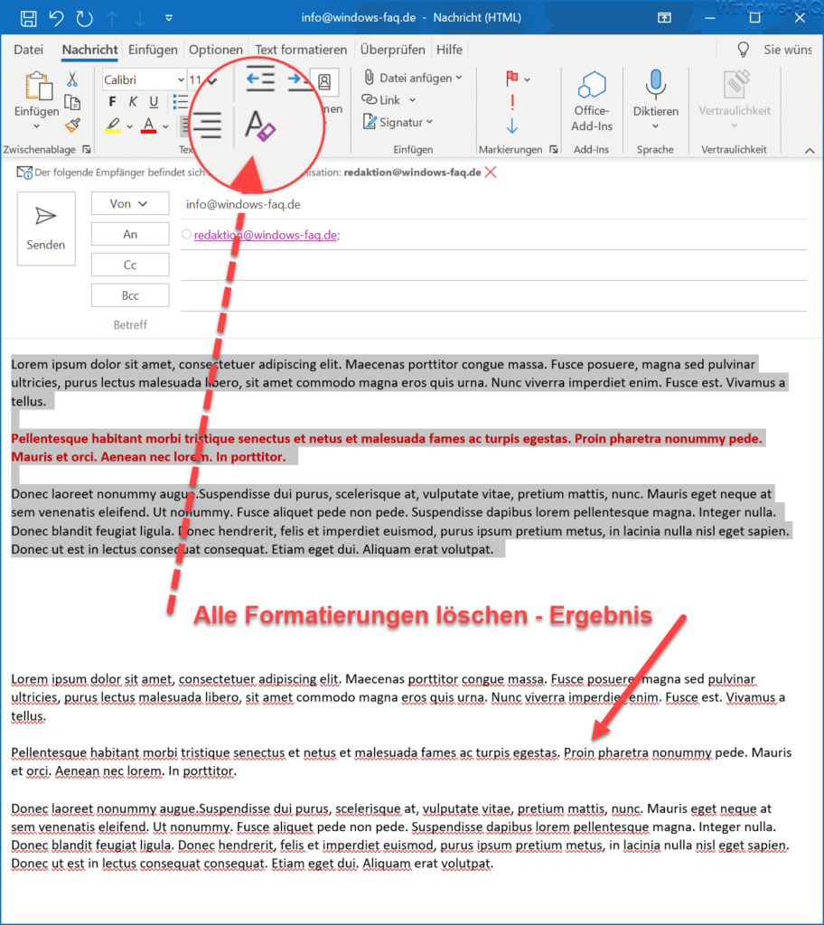 Outlook Alle Formatierungen löschen