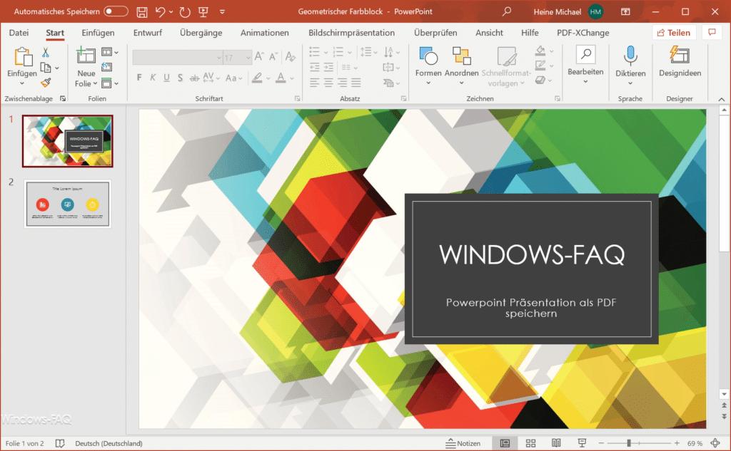 PowerPoint Präsentation als PDF speichern