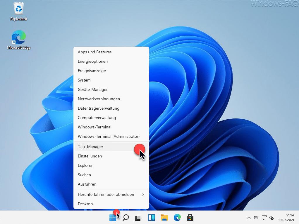 Task-Manager Windows 11 Start Menü