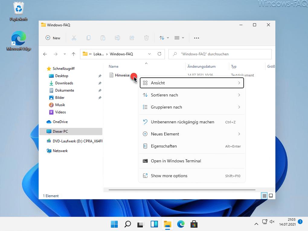 Windows 11 Explorer Kontextmenü