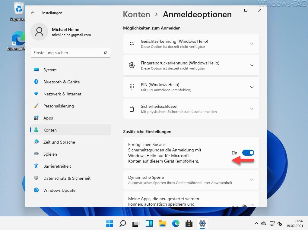 Windows Hello ausschalten Windows 11