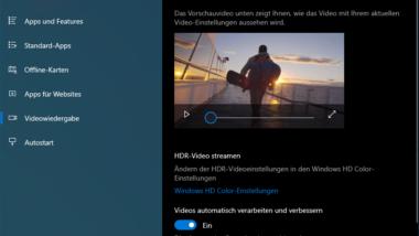 HDR Videos bei Windows 10