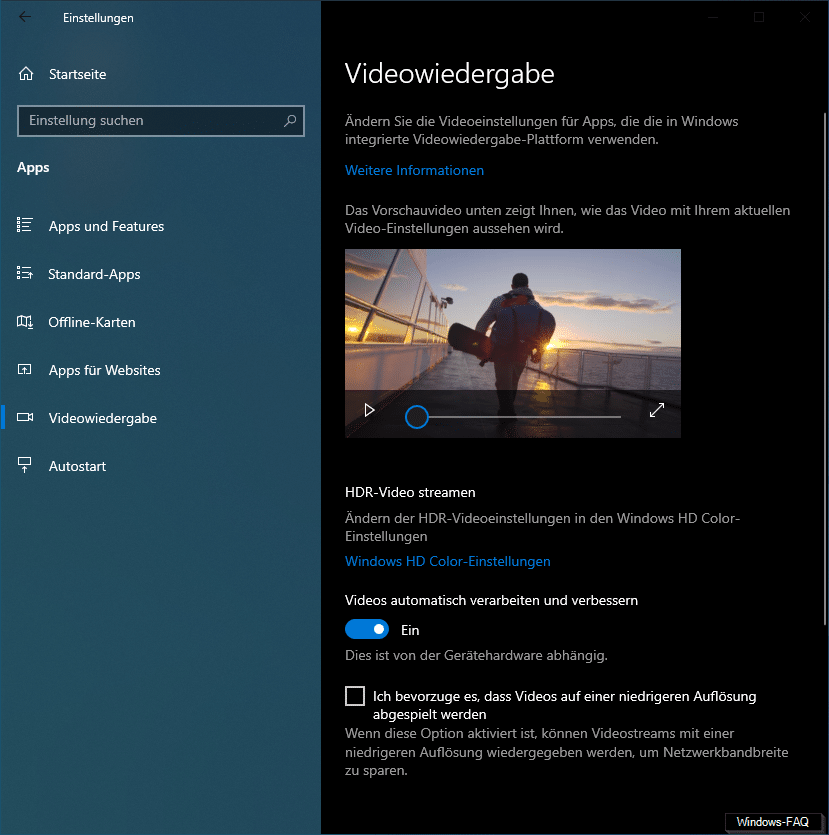 HDR Video Windows 10