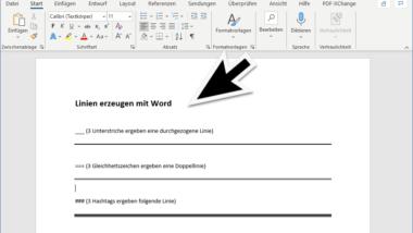 Linien automatisch erzeugen mit Word