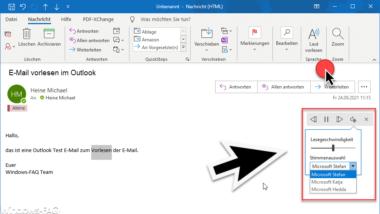 E-Mail vorlesen lassen vom Outlook