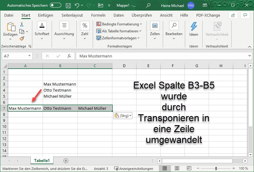 Excel Spalte in Zeile transponiert