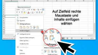 Excel Transponieren – Umwandlung Spalte in Zeile oder Zeile in Spalte