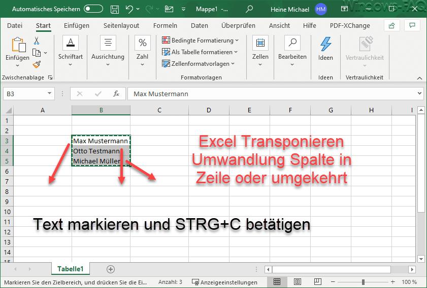 Excel Transponieren Umwandlung Spalte in Zeile oder umgekehrt