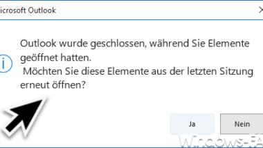 Outlook wurde geschlossen, während Sie Elemente geöffnet hatten -> Abfrage abschalten