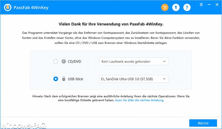 Passfab 4Winkey CD oder USB-Stick erstellen