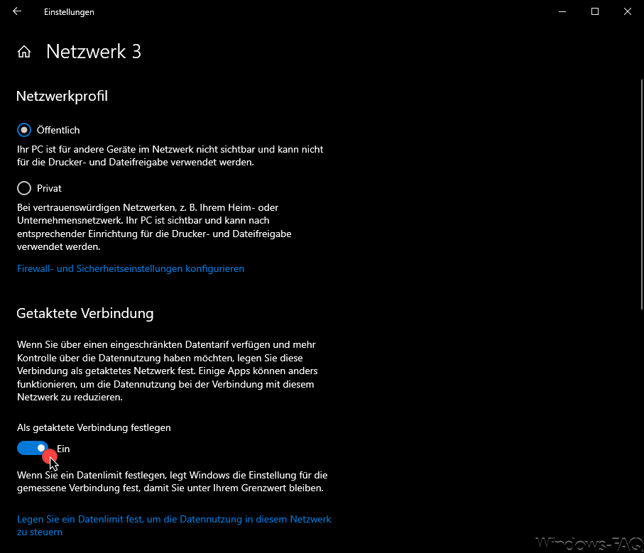 Windows 10 getaktete Verbindung