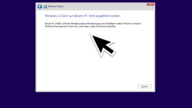 Windows 11 kann auf diesem PC nicht ausgeführt werden