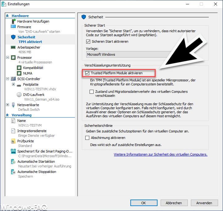 Windows TPM aktivieren